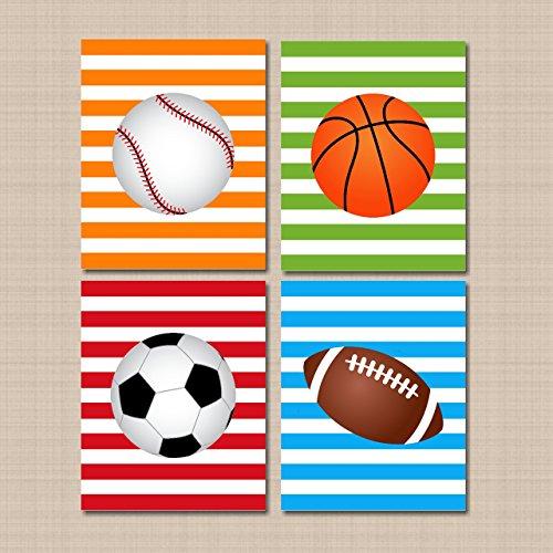 Sports Nursery Décor,Sports Wall Art,Soccer Football Baseball Basketball Room,Sports Room Decor,Sports Kids Room Decor,Sports Bedroom,All Star Bedroom Decor- UNFRAMED 4 (NOT CANVAS) C294