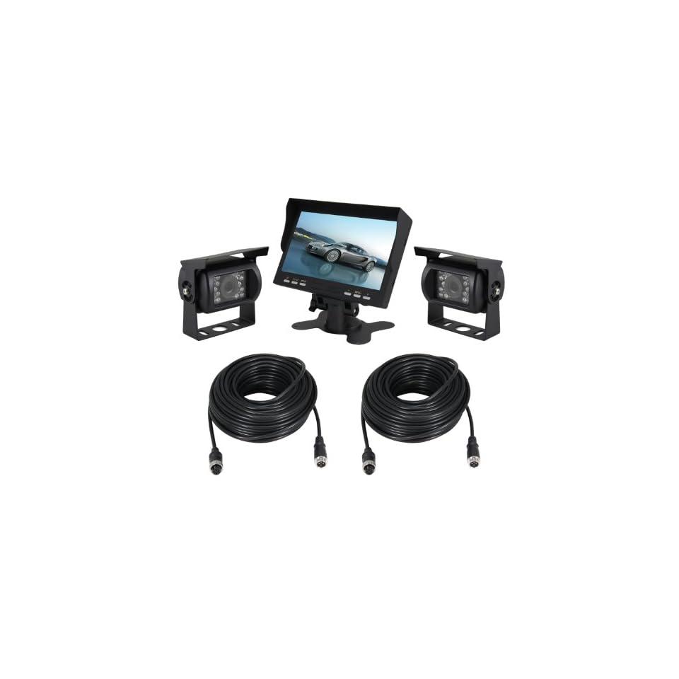 Esky 7 Inch TFT LCD Monitor Waterproof Car Rear View Night Vision Backup 2 Camera System