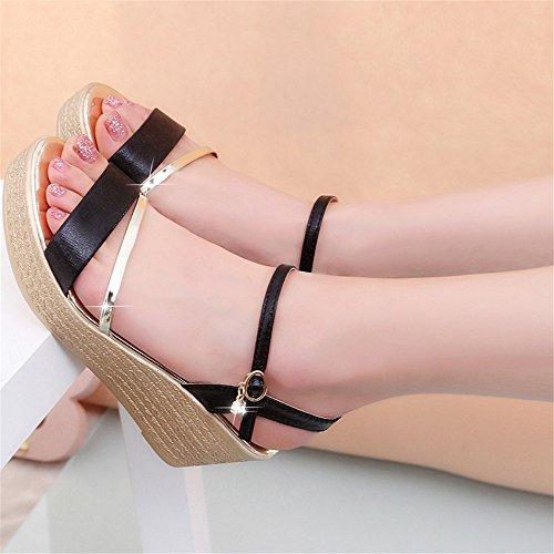 per US8 donne Lady 5 di comoda scarpe nero qualità donne di alto oro CN40 tacco scarpe sandali sandali Piattaforma moda UK6 5 cunei EU39 UxqvAPw8