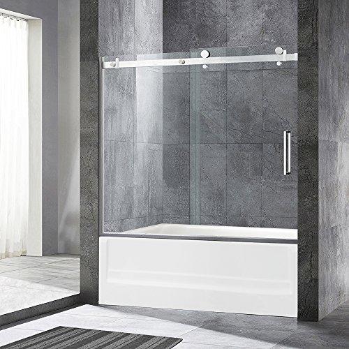 Tub Door Clear Glass - WOODBRIDGE Deluxe Frameless Sliding Tub Door, 5/16
