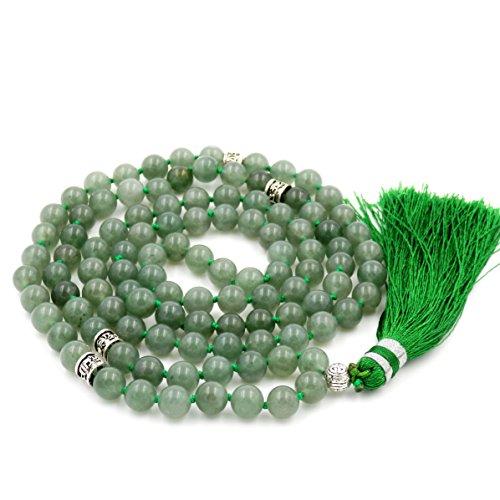 Gemstone Mala Beads Necklace, Mala Bracelet, Buddha necklace, Hand Knotted Mala (green aventurine) ()