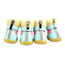 Norbi Wool Pet Dog Sneakers PU Pet Boots Zipper Design Skidproof Waterproof Winter Warm Anti-Slip Dog Shoes C-White//L