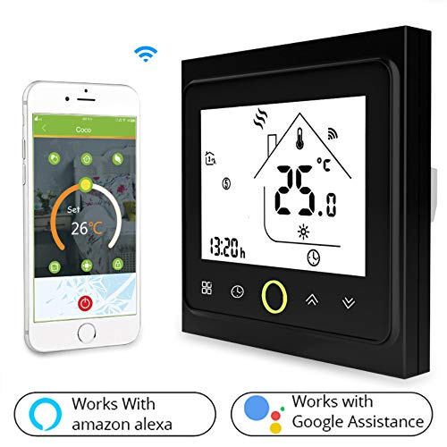 XSGDMN Smart Thermostat, Wi-Fi Water/Boiler Thermostat Compatible with Alexa and Goole Assistance, Touch Screen Display, Remote Control with APP, Digital Display