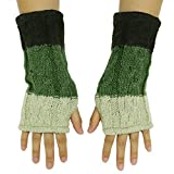 CFrost Women's Hand Knit Color Block Fingerless Arm Warmer Gloves …