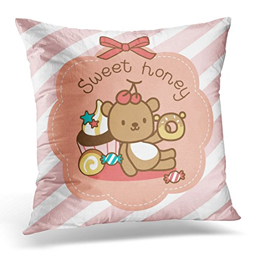 Sitting Bear Case - Emvency Throw Pillow Covers Brown Candy Sweety Bear Sitting with Dessert Pink Toffee Decorative Pillow Case Home Decor Square 20
