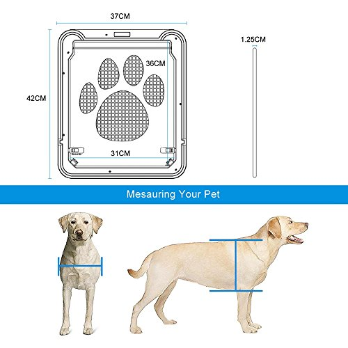 Dog Door Screen Door, NuoYo Pet Cat Door Automatic Lock Rotary Indoor  Safety Nets Gates