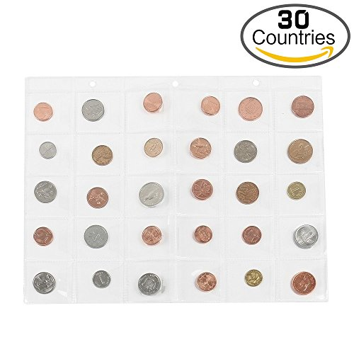 Classic 30 Countries Coins Collection Starter Kit Authentic Coins 100% Original Genuine World Coin with Coin Holders Storage Collection