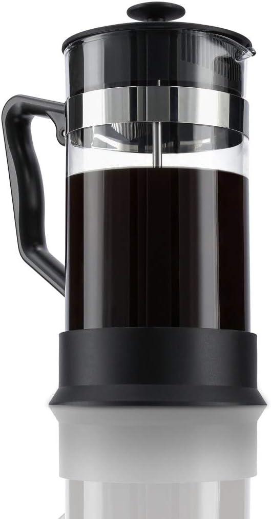 Noir//Transparent Xavax Cafeti/ère//Th/éi/ère 0,6 litre, en verre, filtre en acier inoxydable pour caf/é ou th/é, cafeti/ère avec tamis, filtre anti-calcaire int/égr/é, va au lave-vaisselle