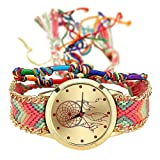 GENEVA Handmade Braided Dreamcatcher Friendship Bracelet Watch Rope Watch Ladies Quartz Watches-color 2