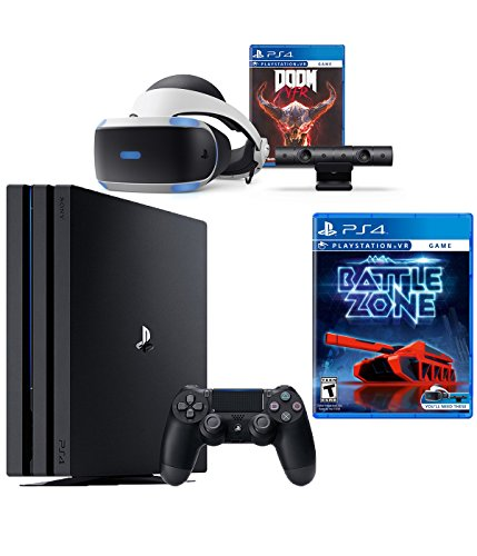 PlayStation VR Bundle 4 Items:VR Headset,Playstation Camera,PlayStation 4 Pro 1TB,VR Game Disc: PSVR Battlezone
