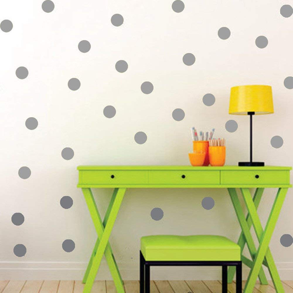 Rodway Silver Polka Dots, Removable Wall Sticker Home Decoration Vinyl Circle Wall Decal Vinyl Stickers Nursery Decor, 1.6 - 108 dots (Gold) 1.6 - 108 dots (Gold)