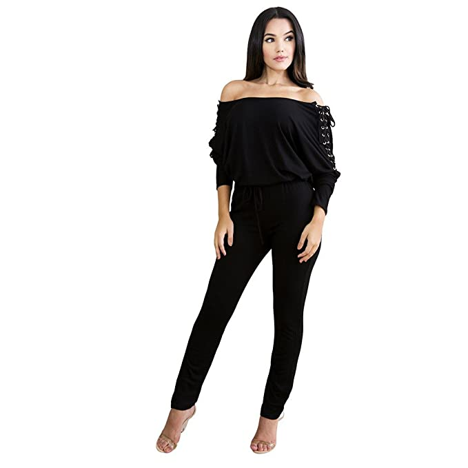89e52b91b4 Image Unavailable. Image not available for. Color  TIMEMEANS Womens  Jumpsuit Sexy Overalls Long Sleeve Rompers Summer Off Shoulder Black