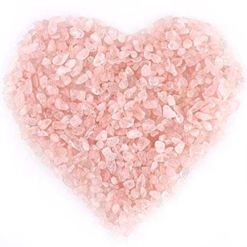 Quartz Chip - Hilitchi Rose Quartz Tumbled Chips Stone Crushed Crystal Natural Rocks Irregular Shape Healing Home Indoor Decorative Gravel Feng Shui Healing Stones (About 1lb(455g)/Bag)