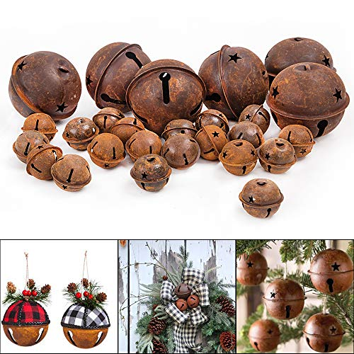 HOLICOLOR 26Pcs Rusty Metal Jingle Bells, 6pcs 9cm/3.5inch Jingle Bells and 20pcs 4cm/1.8inch Jingle Bells, Rusted Jingle Bell for holiday decoration, DIY Crafts, etc.