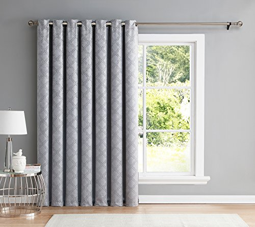 HLC.ME Redmont Lattice Extra Wide-Width Thermal Blackout Grommet Patio Door Curtain Panel - 84