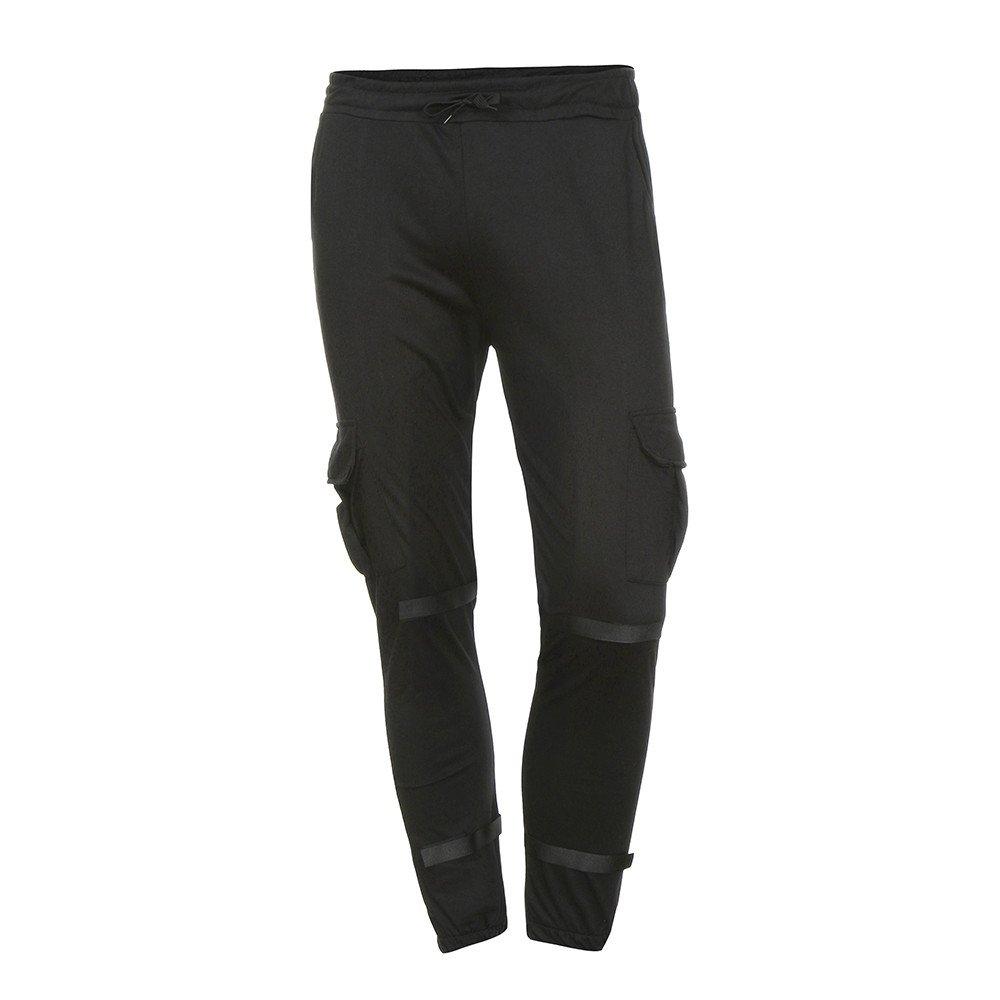 DORIC 2019 Men's Sweatpants Elastic Waistband Tight Beam Foot Drawstring Sports Slacks Casual Elastic Pockets Trousers Black
