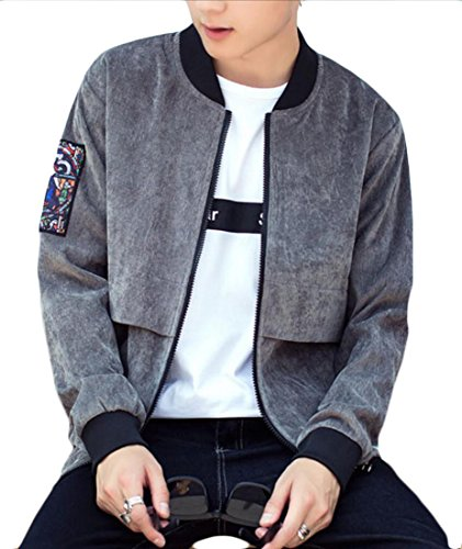 Gery Thick Generic Zip Neck Up Baseball Jacket Print Corduroy Mens Casual gxwxPqvA
