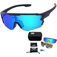 JEPOZRA Gafas Ciclismo Polarizadas, Gafas de Conducción de Medio Cuadro con 3 Lentes Intercambiables, Gafas de…