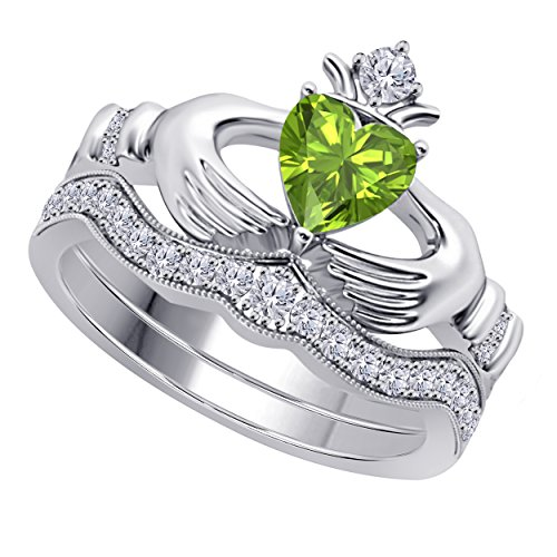 Women's 14k Gold Rhodium Plated Alloy White/Yellow/Rose/Black 1.00CT Heart Cut Created Peridot & Cubic Zirconia Round Wedding Band & Crown Engagement Claddagh Bridal Ring Set - Ring Peridot Created Stainless Steel