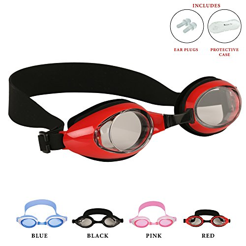 Kids Swimming Goggles by Bezzee Pro, Anti Fog, Leak Proof Eye Cups, Adjustable Straps, Children Swim Glasses(ages 4 to 10), With Quality Goggle Case & Ear Plugs, 100% (Red)
