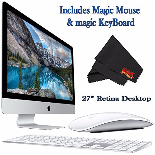 Apple iMac MK482LL/A 27-Inch Retina 5K Display Desktop 3.3GHz 8GB 2TB Fusion Drive + Mac Essentials Lifetime Online Support + Magic Keyboard and Magic Mouse by 6Ave
