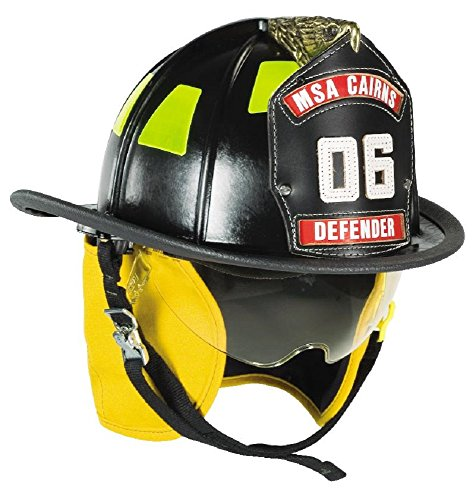 (MSA 660DDB Cairns Metro Fire Helmet with Defender, Deluxe Leather with Crown Pad, PBI/Kevlar Earlap, Nomex Chinstrap with Quick Release, Postman Slide, Bar and Lime/Yellow Reflexite, Black)