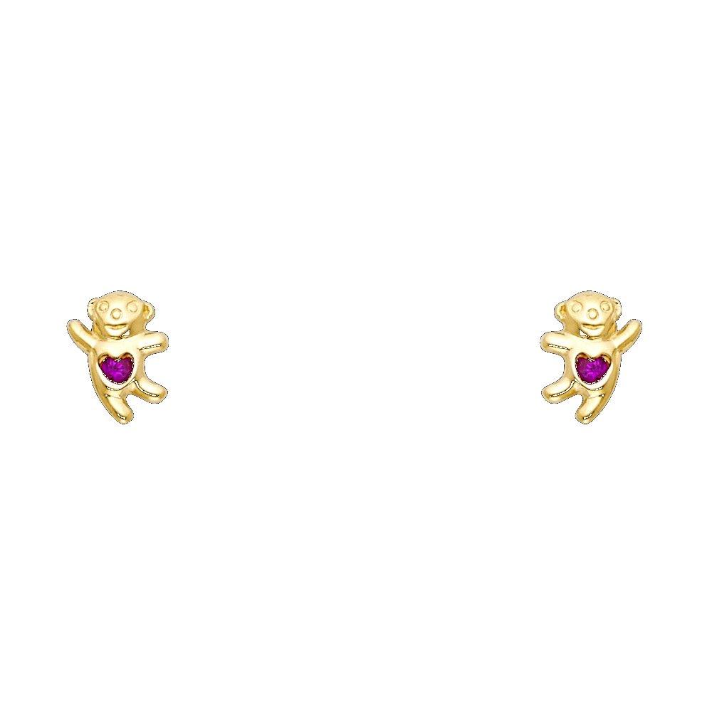 Ioka 14K Yellow Gold Red CZ Teddy Bear Stud Screw Back Earrings