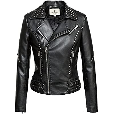 LLF Women's Faux Leather Studded Punk Style Cropped Jacket