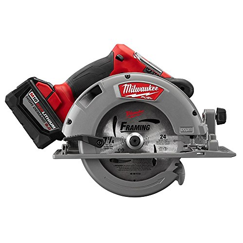 Milwaukee M18 FUEL 18-Volt Lithium Ion Brushless Cordless 7 1/4 in. Circular Saw with M18 18-Volt 9.0Ah Starter Kit   Modern Hardware Power Tools for Your Carpentry Workshop or Machine Shop by Milwaukee (Image #7)