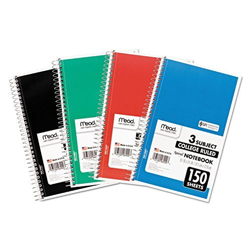 - Mead 06900 Spiral Bound Notebook, Perforated, College Rule, 9.5 x 5.5, White, 150 Sheets