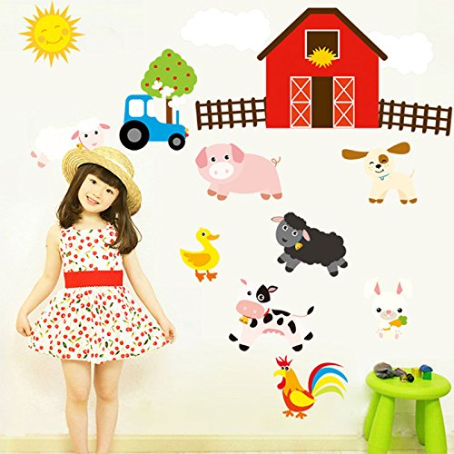 Kicode Wall Stickers Funny Farm Designed Craft DIY Art Removable Living Bed Room Home (Farm Wall Stickers)