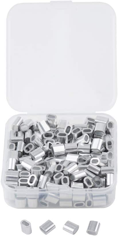 INCREWAY 200pcs M2 Aluminum Sleeves Clip Single Oval Hole Cable Crimps for 2mm Diameter Wire Rope and Cable