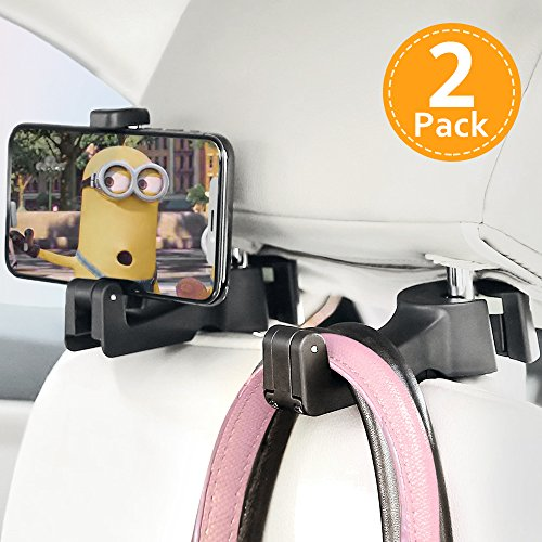 Ohuhu Car Hangers, 2pack 2 in 1 Universal Auto Vehicle Back Seat Headrest Hook Hanger with Cellphone Holder for Holding Phones and Hanging Bag, Purse, Cloth, Grocery, black