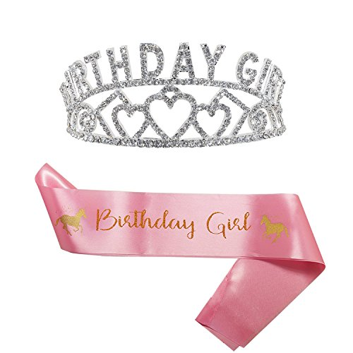 Princess Birthday Girl Tiara and Sash | Cute Unicorn Pink Satin Sash and Birthday Girl Crown | Happy Birthday Party Supplies, Favors, Decorations 7th, 8th, 9th, 10th,11st, 12nd, 13rd Birthday (2-Pack)
