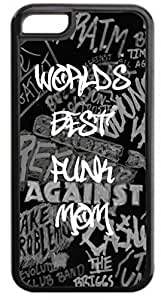 World's Best Punk Mom-Case for the Apple Iphone 5-5s Universal- Hard Black Plastic Snap On Case