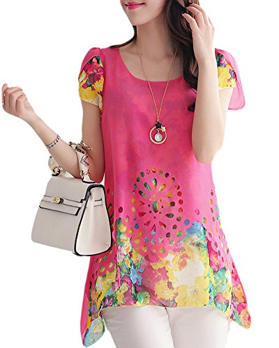 Anself Fashion Women Chiffon Blouse Floral Print Hollow Out Overlay Petal Sleeves Tops (X-Large, Rose) ()
