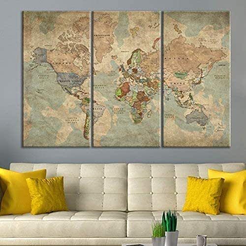 Amazon.com: Antique World Map Push Pin Wall Art by Sami ...