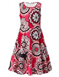 RAISEVERN Cute Girls Summer Bohemian Sunflower Dress Sleeveless Mandala Floral Printing Boho Swing Casual/Party (4-13Years)