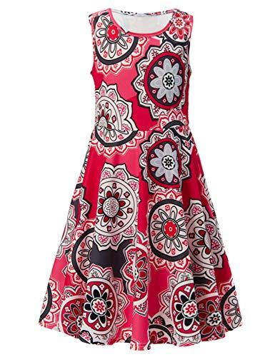 RAISEVERN Cute Girls Summer Bohemian Sunflower Dress Sleeveless Mandala Floral Printing Boho Swing Casual/Party (4-13Years) by RAISEVERN