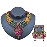 omylady Crystal Necklace Earrings Set Bridal Rhinestone Jewelry Set For Wedding Prom Party Women Gift (Multicolor)