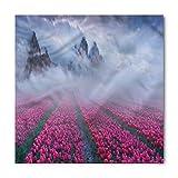 Lunarable Mystic Bandana, Spring Tulip Foggy Landscape, Unisex Head and Neck Tie