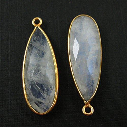 Bezel Charm Pendant -Vermeil Charm-Gold Plated Gemstone Charm Pendant-Rainbow Moonstone -Elongated Teardrop-34 by 11mm-(2 ()