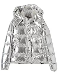GAGA Women's Winter Long-Sleeved Thick Warm Metallic Liquid Puffer Jacket Coat