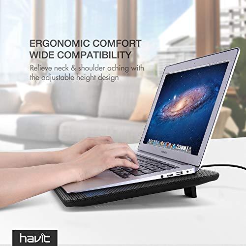 Havit HV-F2056 15.6''-17'' Laptop Cooler Cooling Pad - Slim Portable USB Powered (3 Fans) (Black+Blue) by Havit (Image #7)