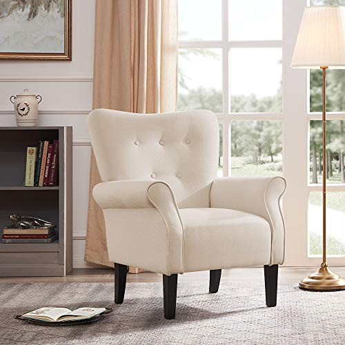 Belleze Modern Accent Chair Roll Arm Linen Living Room Bedroom w/ Wood Leg (White) (Big Living People Chairs For Room)