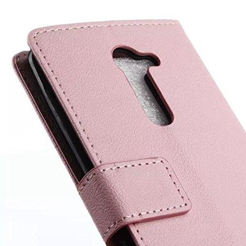 SRY-case Funda LG RAY, patrón de textura Kas Patrón de cuero de la PU cubierta de la caja sólida Funda Horizontal funda de soporte caso de la cartera con ranuras para LG RAY ( Color : Black , Size : L Pink
