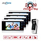 Jeatone 7 Inch Doorbell Intercom Camera Wired System 4 LCD Dispay Intercom and 1 Outdoor Station Wide Angle 110 Degree Night Vision