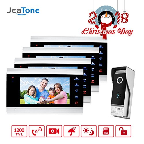 Jeatone 7 Inch Doorbell Intercom Camera Wired System 4 LCD Dispay Intercom and 1 Outdoor Station Wide Angle 110 Degree Night Vision by Jeatone
