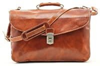 Alberto Bellucci Tuscany Triple Compartment Leather Messenger Briefcase by Alberto Bellucci