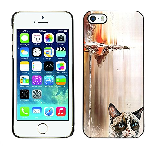 Omega Case PC Polycarbonate Cas Coque Drapeau - Apple iPhone 5 / 5S ( Funny Angry Cat )